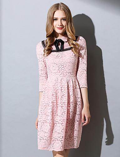 Damen A-Linie Kleid-Ausgehen Lässig/Alltäglich Übergröße Niedlich Solide Hemdkragen Übers Knie Baumwolle Polyester Frühling Herbst