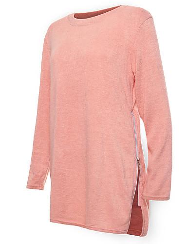 Damen Strickware Kleid-Ausgehen Lässig/Alltäglich Retro Einfach Solide Rundhalsausschnitt Knielang Langarm Blau Rosa Beige Wolle Elasthan