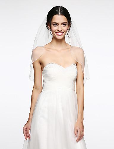 Einschichtig Hochzeitsschleier Ellbogenlange Schleier Mit Perle Netz