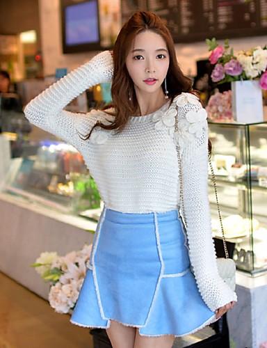 Damen Standard Pullover-Ausgehen Lässig/Alltäglich Urlaub Niedlich Street Schick Anspruchsvoll Solide Weiß Rundhalsausschnitt Langarm