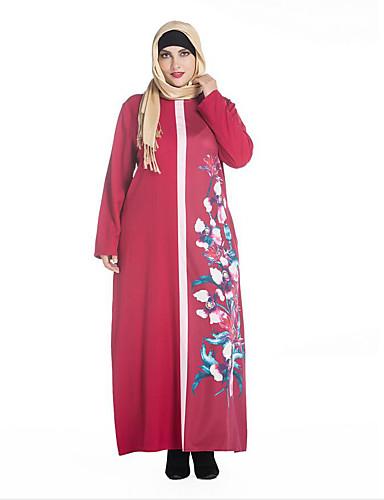 Damen Tunika Kleid-Übergröße Einfach Druck Rundhalsausschnitt Maxi Langarm Rot Schwarz Grün Polyester Frühling Mittlere Hüfthöhe