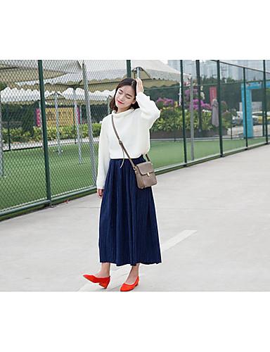 Damen Röcke,Schaukel einfarbigLässig/Alltäglich Einfach Mittlere Hüfthöhe Midi Kordelzug Baumwolle Micro-elastisch Herbst