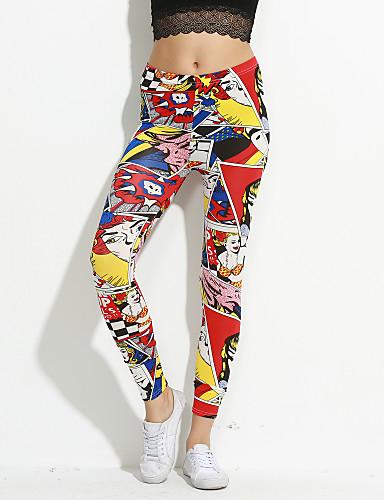 abordables Pantalons Femme-Femme Sexy Sportif Legging - Lettre, Imprimé Taille médiale Arc-en-ciel Taille unique / Slim