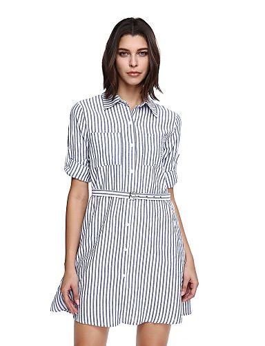 女性用 キュート シフト ドレス ストライプ 膝上