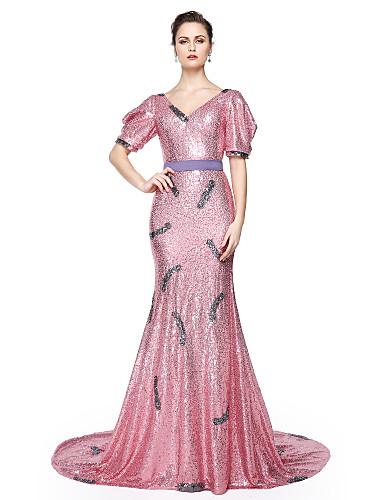 Havfrue V-hals Gulvlang Paljetter Formell kveld Kjole med Paljett Belte / bånd Plissert av TS Couture®