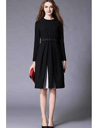 Damen Swing Kleid-Lässig/Alltäglich Einfach Solide Rundhalsausschnitt Knielang Langarm Polyester Herbst Mittlere Hüfthöhe Mikro-elastisch