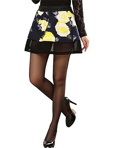 Damen Sexy Niedlich Chinoiserie Mittlere Hüfthöhe Mini Röcke Schaukel einfarbig