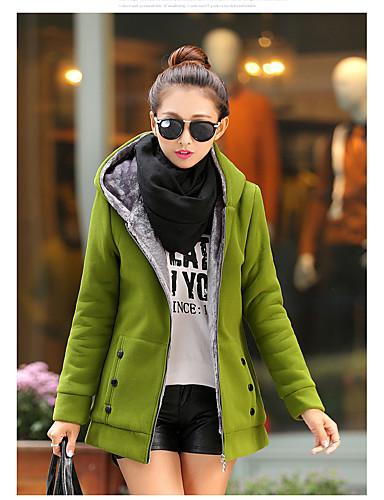 billige Dametopper-Dame Grunnleggende Hoodie Jacket Ensfarget / Vinter