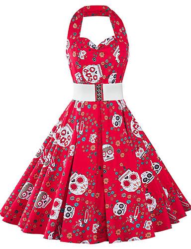 Damen Hülle Kleid-Lässig/Alltäglich Retro Druck Quadratischer Ausschnitt Knielang Ärmellos Rot Baumwolle Polyester Sommer Hohe Hüfthöhe
