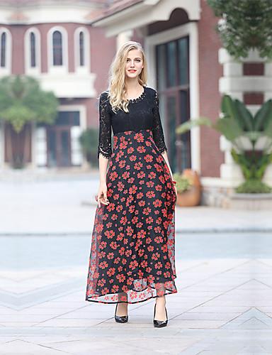 2019 Nuovo Stile Per Donna Per Eventi - Per Uscire Cotone Largo Vestito Fantasia Floreale Maxi #05524233 Essere Distribuiti In Tutto Il Mondo