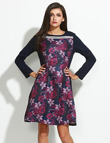 女性用 プラスサイズ シース ドレス - プリーツ, フラワー
