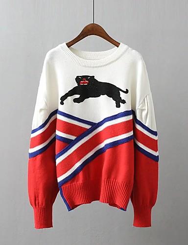 Damen Standard Pullover-Ausgehen Lässig/Alltäglich Einfach Street Schick Einfarbig Rundhalsausschnitt Langarm Acryl Polyester Elasthan