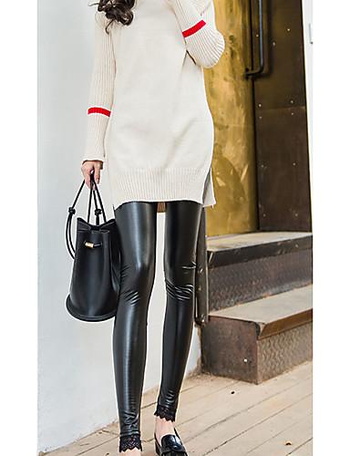 Damen Skinny Jeans Hose-Ausgehen Lässig/Alltäglich Party/Cocktail Street Schick einfarbig Hohe Hüfthöhe Elastizität PU Micro-elastisch