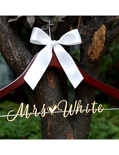 maalaismainen häät henkari henkilökohtainen puun nimi wrdding mekko henkari