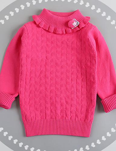 Mädchen Pullover & Cardigan Lässig/Alltäglich Solide Baumwolle Frühling Herbst Langärmelige Weiß Grau Gelb Fuchsia Rosa