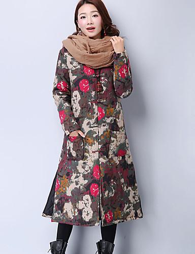 Damen Gefüttert Mantel Einfach Lässig/Alltäglich Blumen-Baumwolle Baumwolle Langarm Blau Rot Grau