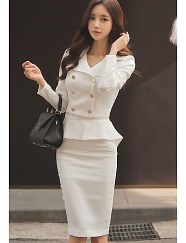 Damen A-Linie Kleid-Lässig/Alltäglich Einfach Solide V-Ausschnitt Übers Knie Langarm Baumwolle Herbst Mittlere Hüfthöhe Mikro-elastisch