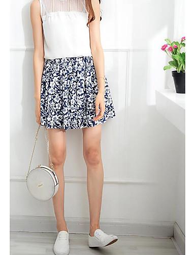 Damen Sexy Hohe Hüfthöhe Über dem Knie Röcke A-Linie Druck