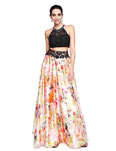 A-linje Besmykket Gulvlang Blonder / Strekk Chiffon Kjole med Perlearbeid av TS Couture®