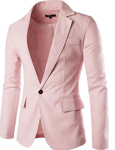 Herrn Solide Einfach Freizeit Street Schick Alltag Ausgehen Standard Blazer, Hemdkragen Frühling Sommer Polyester