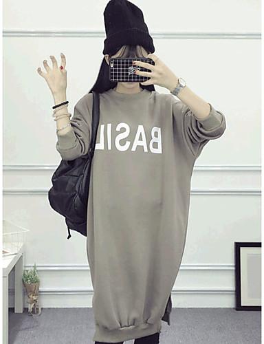 Damen Pullover Übergröße Lässig/Alltäglich Einfach Solide überdimensional Rundhalsausschnitt Fleece-Futter Mikro-elastisch Baumwolle