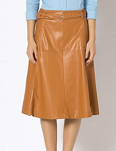 Damen Street Schick Einfach Lässig/Alltäglich Knielänge Röcke A-Linie einfarbig Winter Sommer