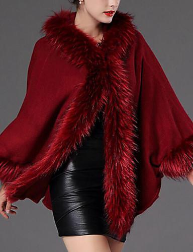 Damen-Solide Retro Mantel Pelzkragen