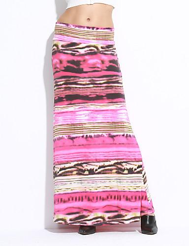 여성 A 라인 / 바디콘 줄무늬 / 프린트 스커트 빈티지,높은 밑위 맥시 면 / 폴리에스테르 스트래치 가을