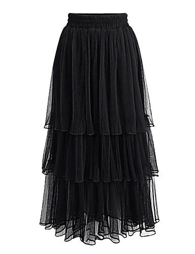 preiswerte Damen Röcke-Damen Balletröckchen Alltag Schaukel Röcke - Solide Gitter / Lang Schwarz Beige