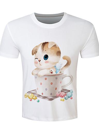 Herren Tierfell-Druck Einfach Punk & Gothic Chinoiserie Ausgehen Lässig/Alltäglich Strand T-shirt,Rundhalsausschnitt Kurzarm Weiß