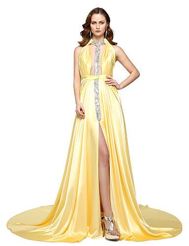 A-linje Grime Gulvlang Chiffon / Sateng Kjole med Perlearbeid / Belte / bånd / Plissert av TS Couture®