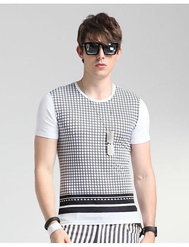 Herren Solide Einfach Lässig/Alltäglich T-shirt,Rundhalsausschnitt Sommer Kurzarm Weiß Baumwolle