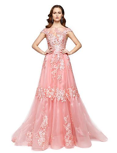 Linha A / Princesa Ilusão Decote Longo Renda / Organza Estilo Celebridade Evento Formal Vestido com Renda / Pregas de TS Couture®