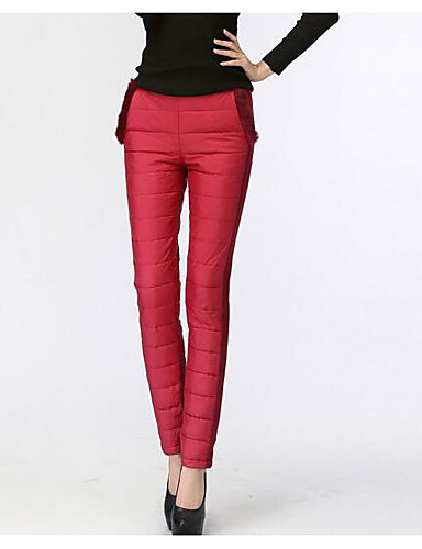 Damen Vintage Mittlere Hüfthöhe Micro-elastisch Chinos Skinny Hose einfarbig