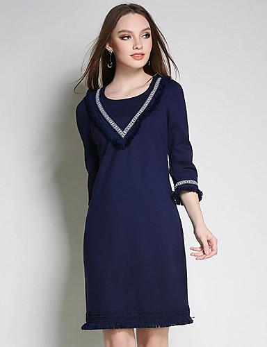 Damen Spitze Kleid-Lässig/Alltäglich Einfach Solide Rundhalsausschnitt Übers Knie Andere Frühling Mittlere Hüfthöhe Mikro-elastisch Mittel