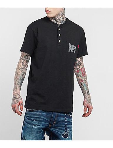 Herren Solide Street Schick Lässig/Alltäglich T-shirt,Rundhalsausschnitt Kurzarm Kunstseide