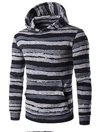 Herrn Kapuzenshirt Lässig/Alltäglich Einfach Gestreift Rundhalsausschnitt Fleece-Futter Mikro-elastisch Polyester Langärmelige Herbst