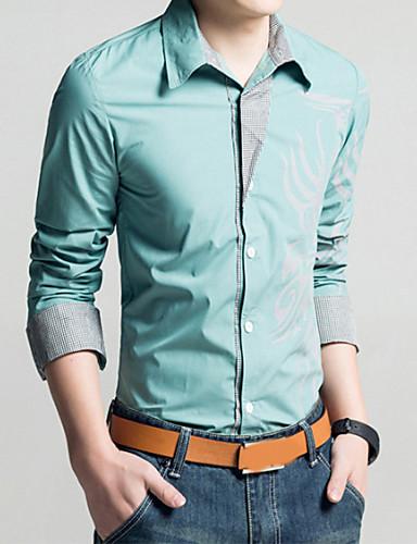 cheap Men's Shirts-Men's Daily Vintage Plus Size Slim Shirt - Geometric / Tribal Print Classic Collar Red XXL / Long Sleeve / Spring / Fall