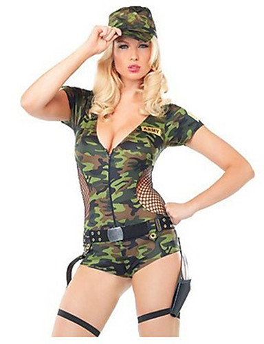 cheap Sexy Costumes-Women's Soldier / Warrior Career Costumes Sex Zentai Suits Cosplay Costume Party Costume Solid Colored Leotard / Onesie Hat / Catsuit