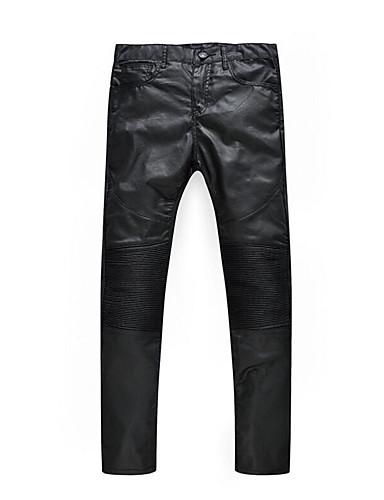 Herren Gerade Jeans Hose-Lässig/Alltäglich Vintage einfarbig Tiefe Hüfthöhe Reisverschluss Kunstseide Micro-elastisch All Seasons