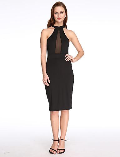 Damen Hülle Kleid - Ausgehöhlt, Solide Halter
