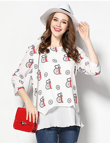 Damen Druck Einfach Ausgehen T-shirt,Rundhalsausschnitt Herbst Baumwolle Undurchsichtig