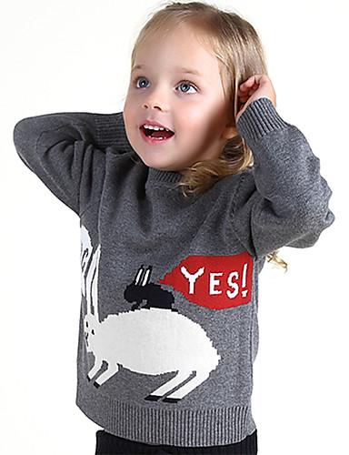 Unisex Pullover & Cardigan Ausgehen Lässig/Alltäglich Schule Einfarbig Tiermuster Druck Bestickt Baumwolle Frühling Winter Lange Ärmel
