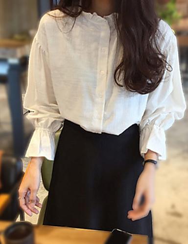 Damen Solide Einfach Lässig/Alltäglich Bluse,Rundhalsausschnitt Frühling Langarm Weiß Baumwolle Mittel