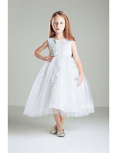 Prinsessa nilkka pituus kukka tyttö mekko - puuvilla pitsi hihaton jalokivi kaulana helminauha