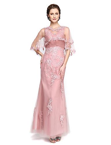 A-line v-neck tornozelo comprimento laço tul mãe do vestido da noiva com appliques pregas