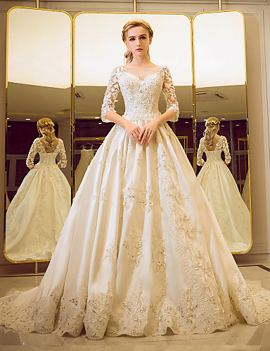 cheap Ball Gown Wedding Dresses-Ball Gown Bateau Neck Court Train Beaded Lace Made-To-Measure Wedding Dresses with Crystals / Criss-Cross / Ruffle by LAN TING BRIDE®