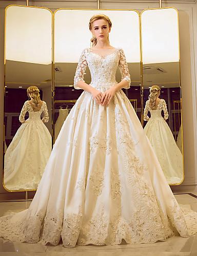Salón Escote de ilusión Corte Encaje con cuentas Vestidos de novia personalizados con Detalles de Cristal Volante En Cruz por Yuanfeishani