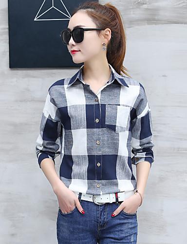 Bomull Skjortekrage Skjorte Dame - Stripet Sofistikert Arbeid