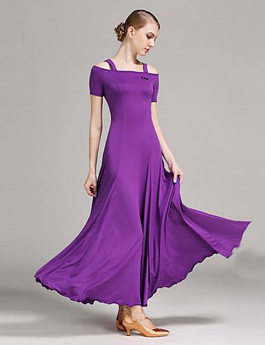 cheap Ballroom Dancewear-Ballroom Dance Dresses Women's Performance Milk Fiber Draping Short Sleeves Natural Dress